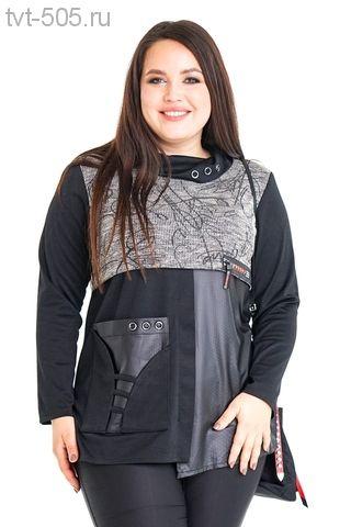 Туника черная с карманом комбинированная