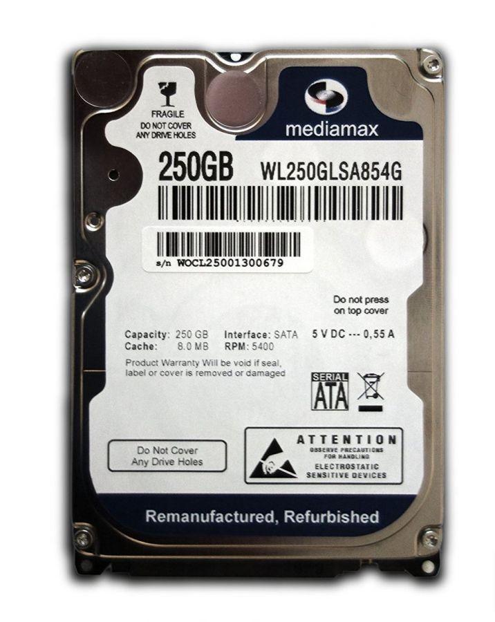 "Накопитель HDD 2.5"" SATA  250GB Mediamax 5400rpm 8MB (WL250GLSA854G) Refurbished"