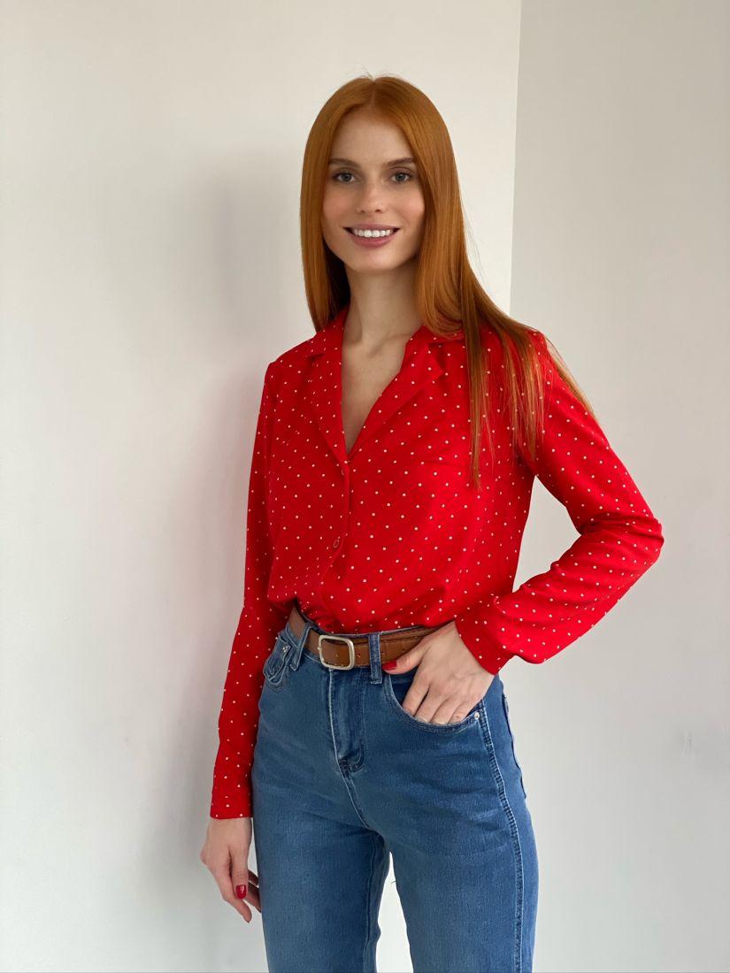 s2796 Блуза с английским воротником красная