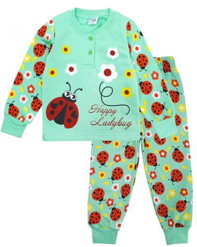 Пижама с начесом, для девочек 2-6 лет BK1251D ментол