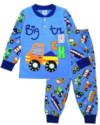 """Пижама с начесом для мальчиков 2-6 лет """"Big Truck"""" голубая"""