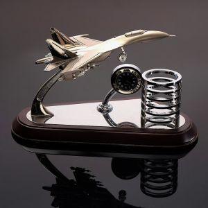 Набор настольный: самолёт, часы, подставка для ручек, 14.5 х 25 см