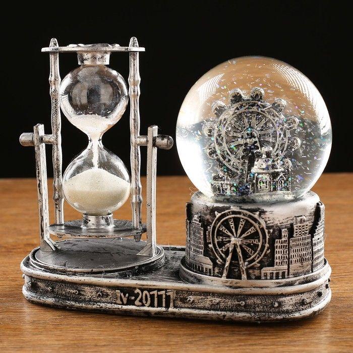 """Часы песочные """"Лондонское колесо обозрения"""",  с подсветкой, 16х8х13.5 см, (3ааа)   441210"""