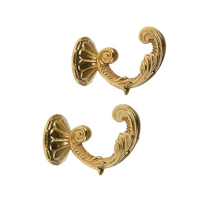 Крючок для штор KS002, однорожковый, цвет золото 3241487