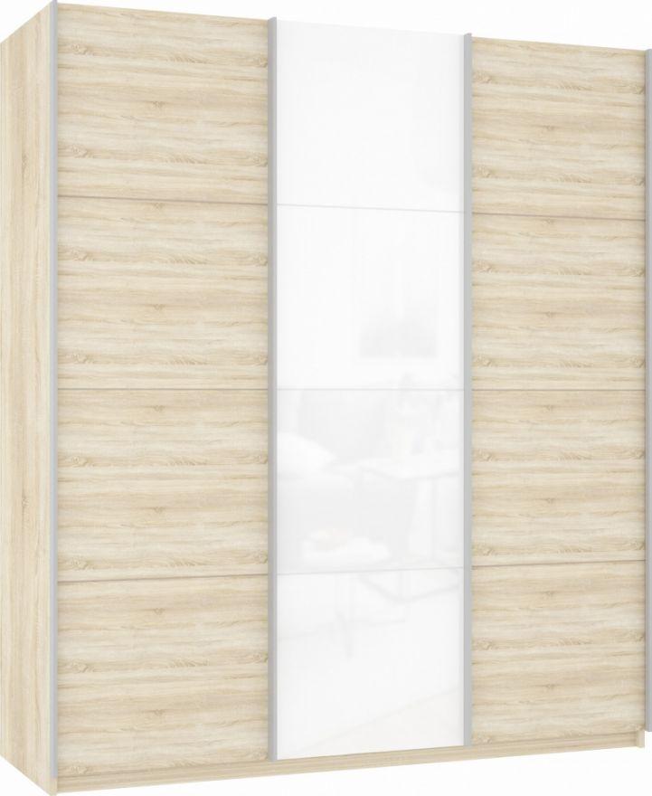 Шкаф-купе трехдверный (ДСП/Белое стекло/ДСП) | E1 Прайм