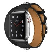 Apple Watch Hermes Series 6 40mm Stainless Steel GPS + Cellular Medor Noir Swift Leather Double Tour​
