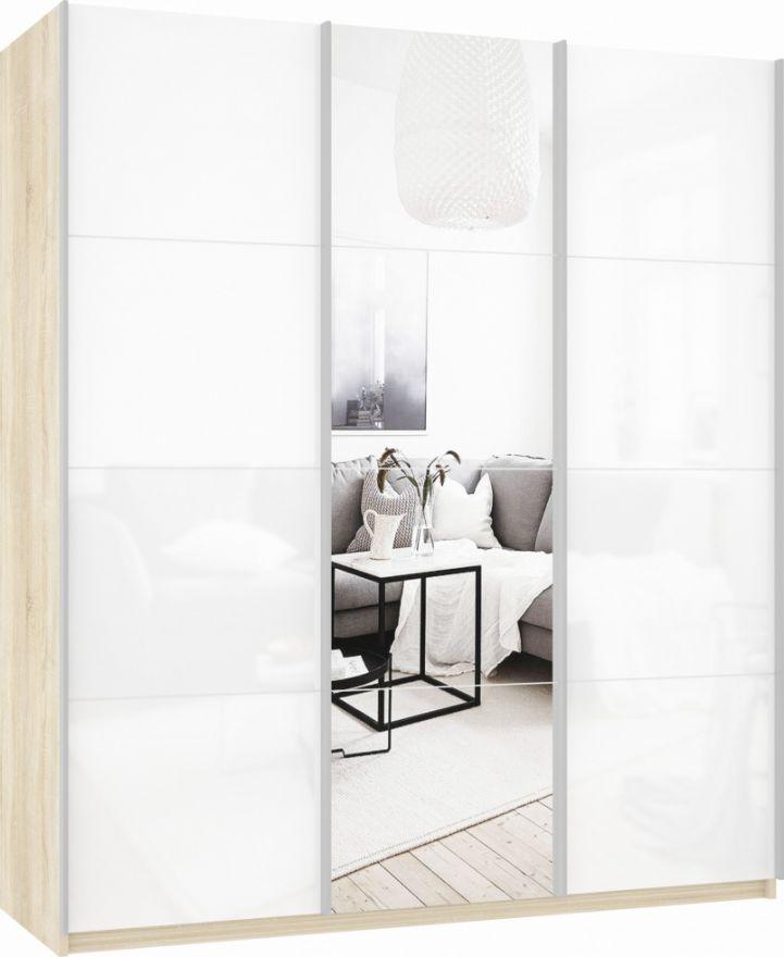 Шкаф-купе трехдверный (Белое стекло/Зеркало/Белое стекло) | E1 Прайм