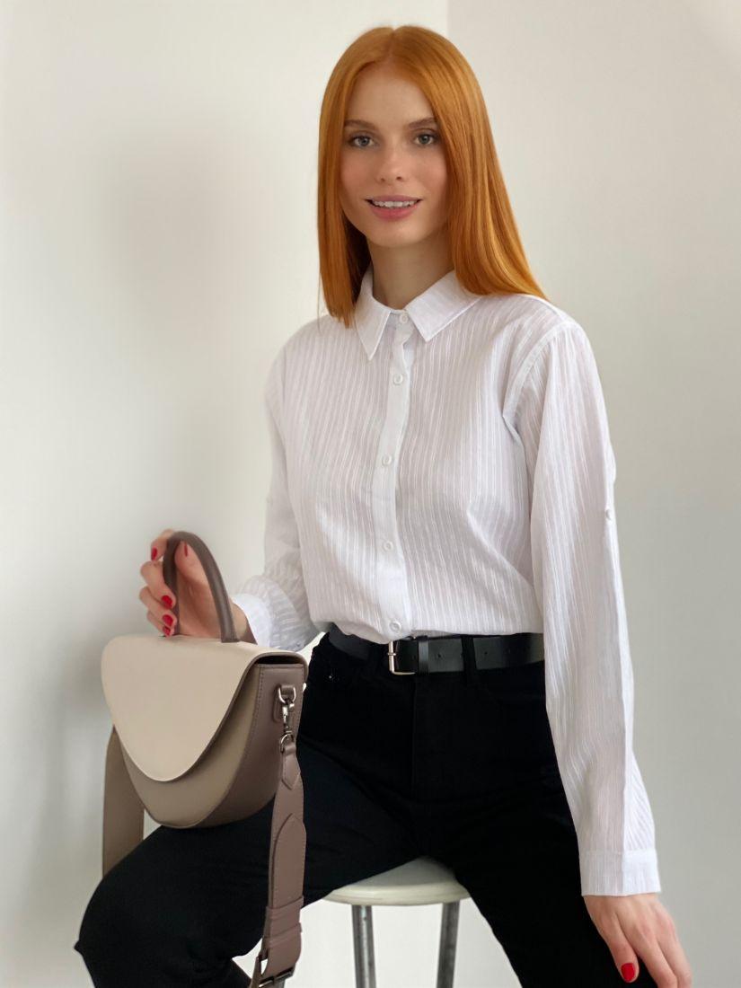s2803 Белая классическая рубашка в полоску