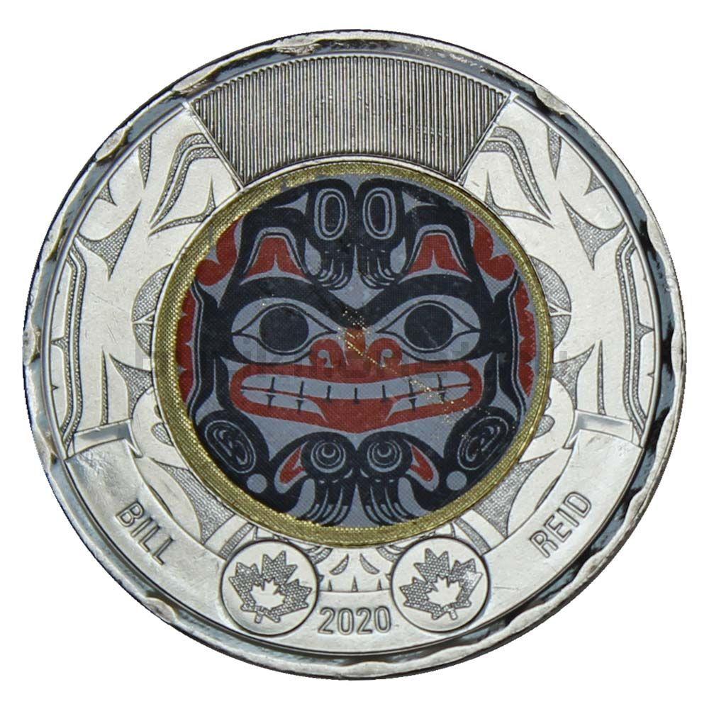 2 доллара 2020 Канада 100 лет со дня рождения Билла Рида Цветная