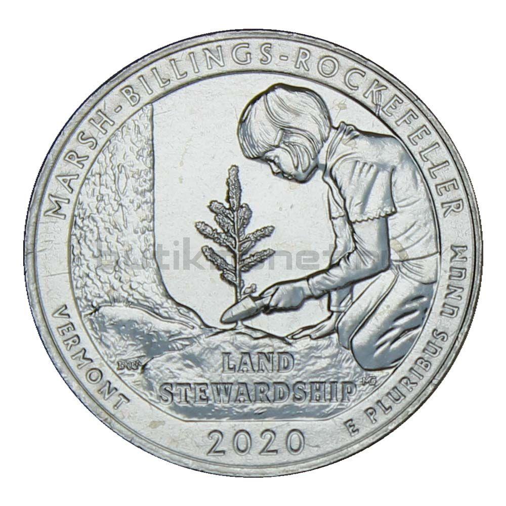 25 центов 2020 США Исторический парк Марш Биллингс Рокфеллер D