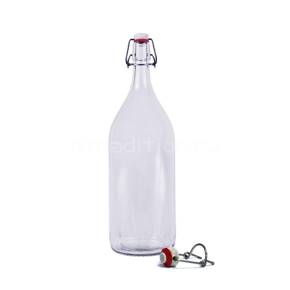 Прозрачная бугельная бутылка, 2 литра