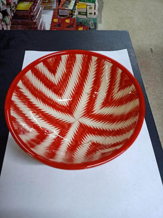 Суповая тарелка красная