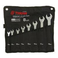 Набор ключей комбинированных в сумке TUNDRA, CrV, холодный штамп, 8 - 19 мм, 8 шт.