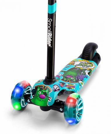 Детский трехколесный самокат со светящими колесами Small Rider Turbo 2 Cartoons