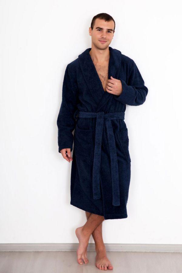 Мужской махровый халат, синий