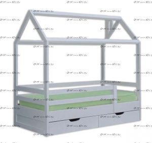Кровать Домик №ДИ, любые размеры, тип покраски: эмаль