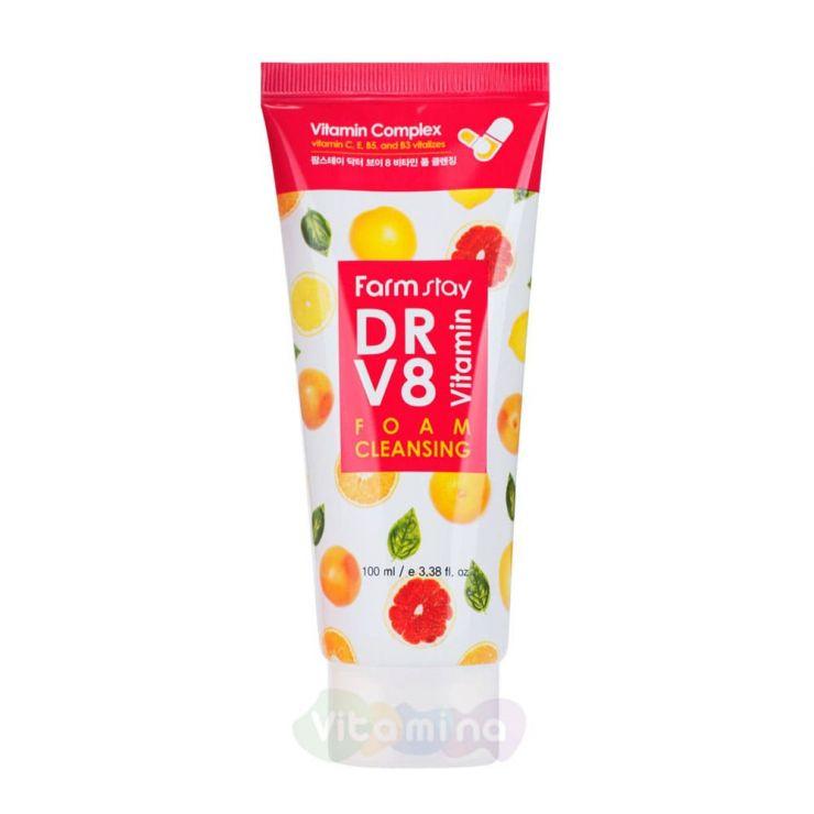 FarmStay Пенка для умывания с витаминным комплексом DR-V8 Vitamin Foam Cleansing, 100 мл