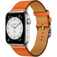 Часы Apple Watch Hermès Series 6 GPS + Cellular 44mm Silver Stainless Steel Case with Orange Swift Leather Single Tour