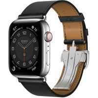 Часы Apple Watch Hermès Series 6 GPS + Cellular 44mm Silver/Space Black Stainless Steel Case with Noir Swift Leather Single Tour Deployment Buckle
