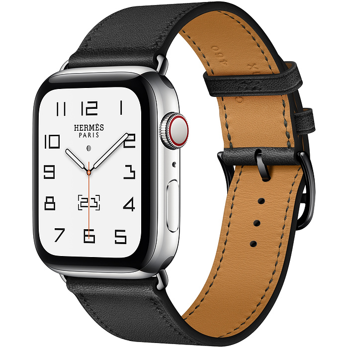 Часы Apple Watch Hermès Series 6 GPS + Cellular 44mm Silver Stainless Steel Case with Noir Swift Leather Single Tour