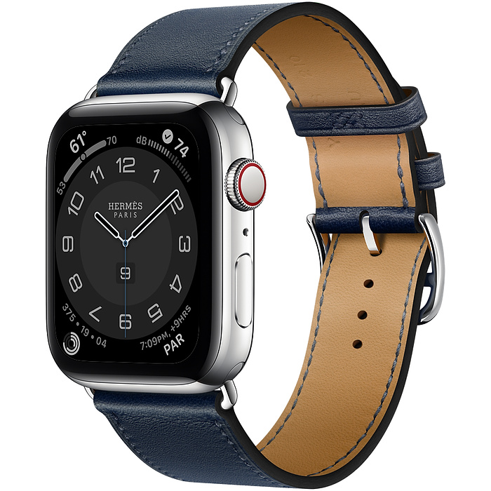 Часы Apple Watch Hermès Series 6 GPS + Cellular 44mm Silver Stainless Steel Case with Bleu Navy Swift Leather Single Tour