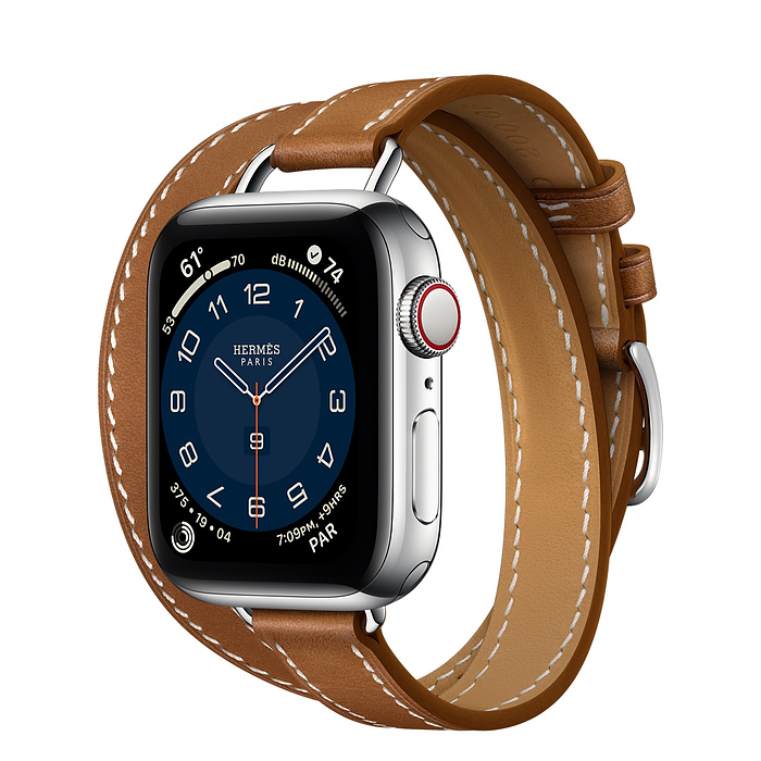 Часы Apple Watch Hermès Series 6 GPS + Cellular 40mm Silver Stainless Steel Case with Fauve Barénia Leather Attelage Double Tour