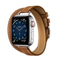 Часы Apple Watch Hermès Series 6 GPS + Cellular 40mm Silver Stainless Steel Case withFauve Barénia Leather Attelage Double Tour