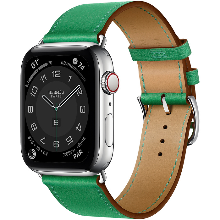 Часы Apple Watch Hermès Series 6 GPS + Cellular 44mm Silver Stainless Steel Case with Bambou Swift Leather Single Tour