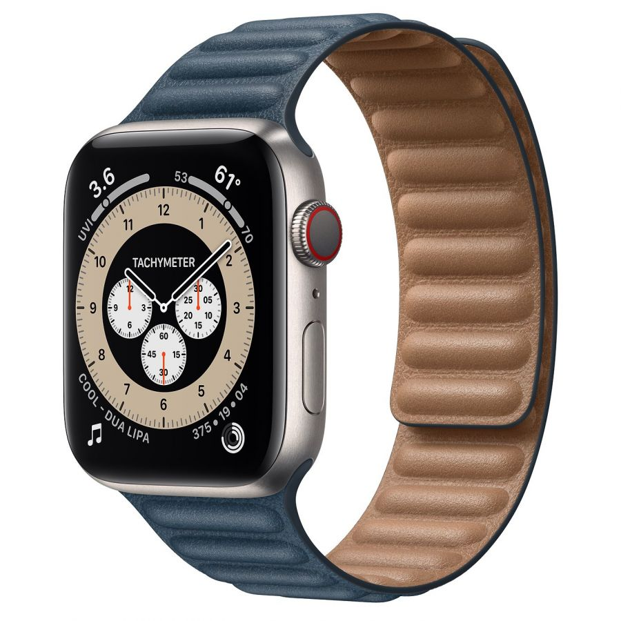 Часы Apple Watch Edition Series 6 GPS + Cellular 44mm Titanium Case with Baltic Blue Leather Link