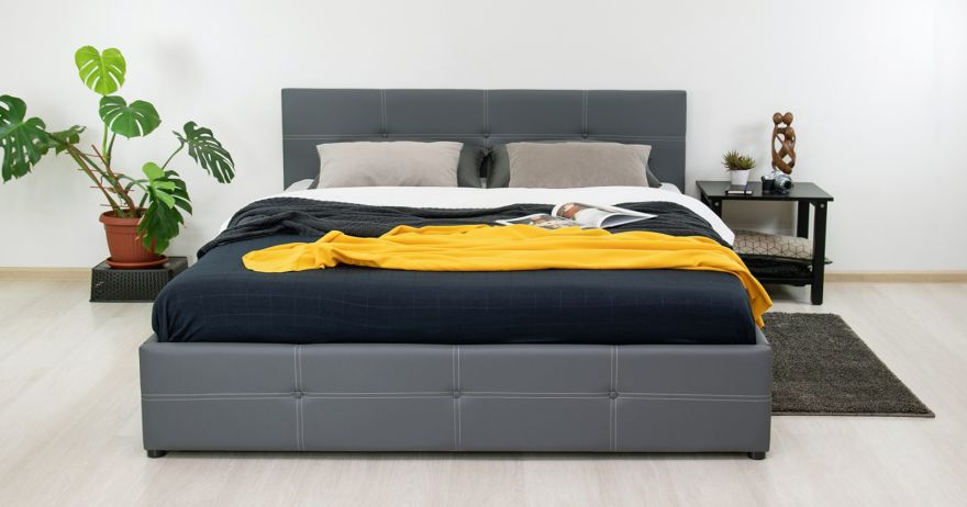 Кровать Синди (арт. Марика 485 к/з (серый)) | Моби