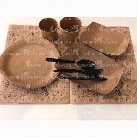 Наборы одноразовой посуды (стаканчики, индивидуальные тарелочки, тарелки под выкладку еды, приборы)