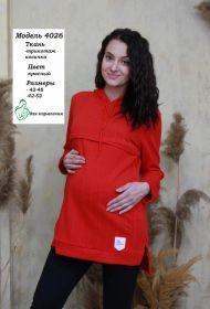 Туника для беременных и кормящих 4026 красный косы