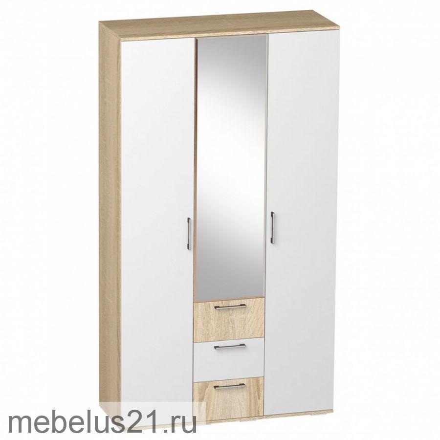 Шкаф 3-х ств. с ящиками с зеркалом
