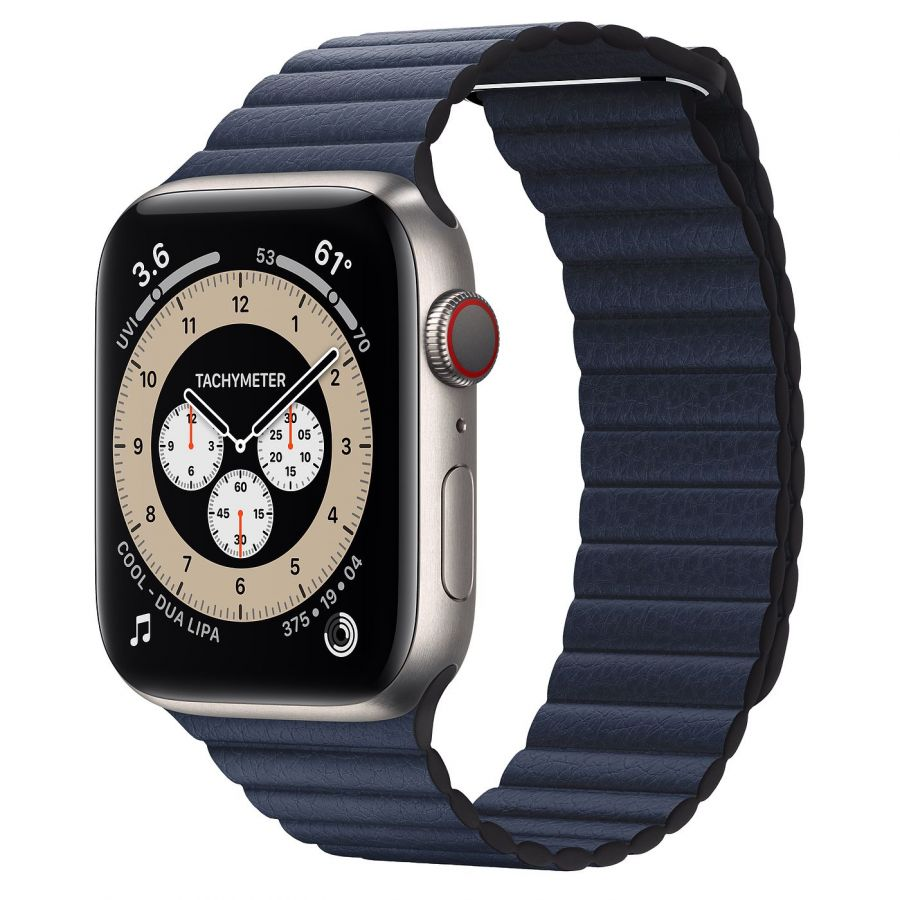 Часы Apple Watch Edition Series 6 GPS + Cellular 44mm Titanium Case with Baltic Blue Leather Loop