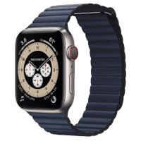 Часы Apple Watch Edition Series 6 GPS + Cellular 44mm Titanium Case with Diver Blue Leather Loop