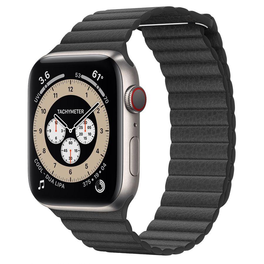 Часы Apple Watch Edition Series 6 GPS + Cellular 44mm Titanium Case with Black Leather Loop