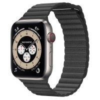 Часы Apple Watch Edition Series 6 GPS + Cellular 44mm Titanium Case with Black Leather Loop