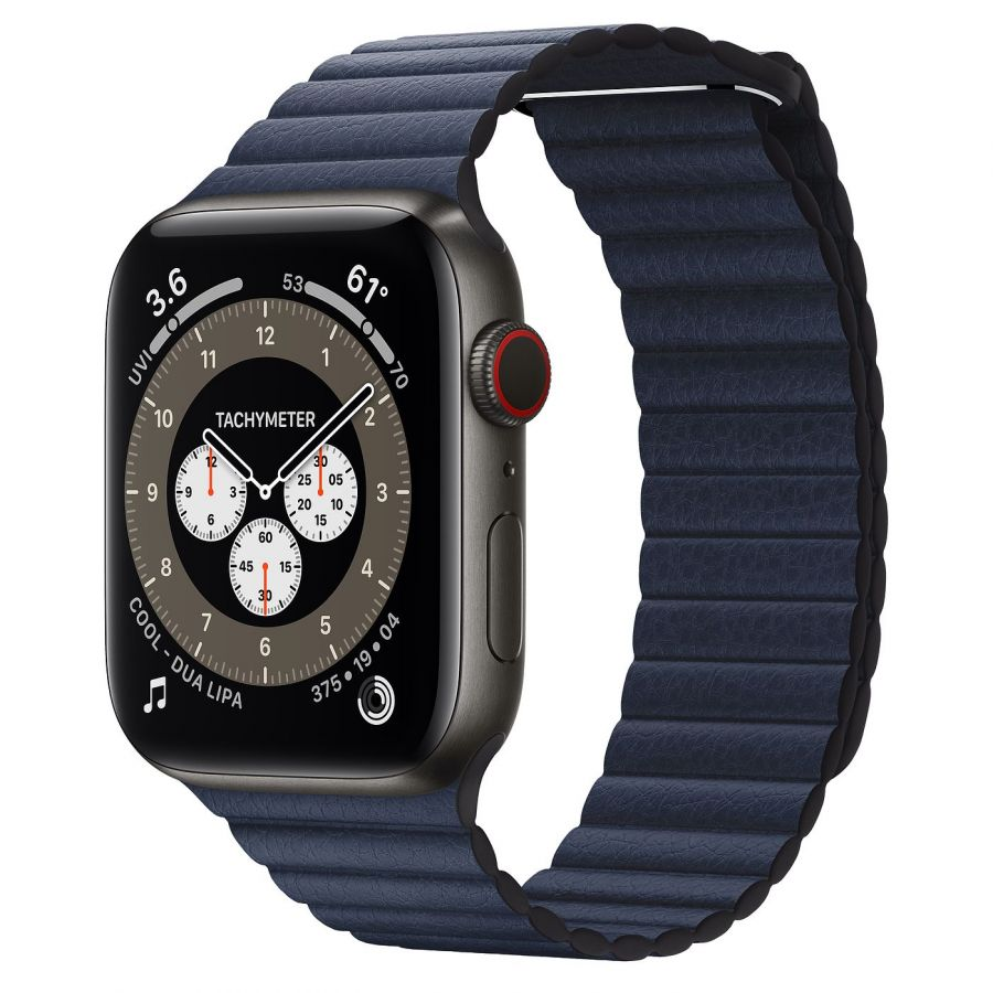 Часы Apple Watch Edition Series 6 GPS + Cellular 44mm Space Black Titanium Case with Diver Blue Leather Loop