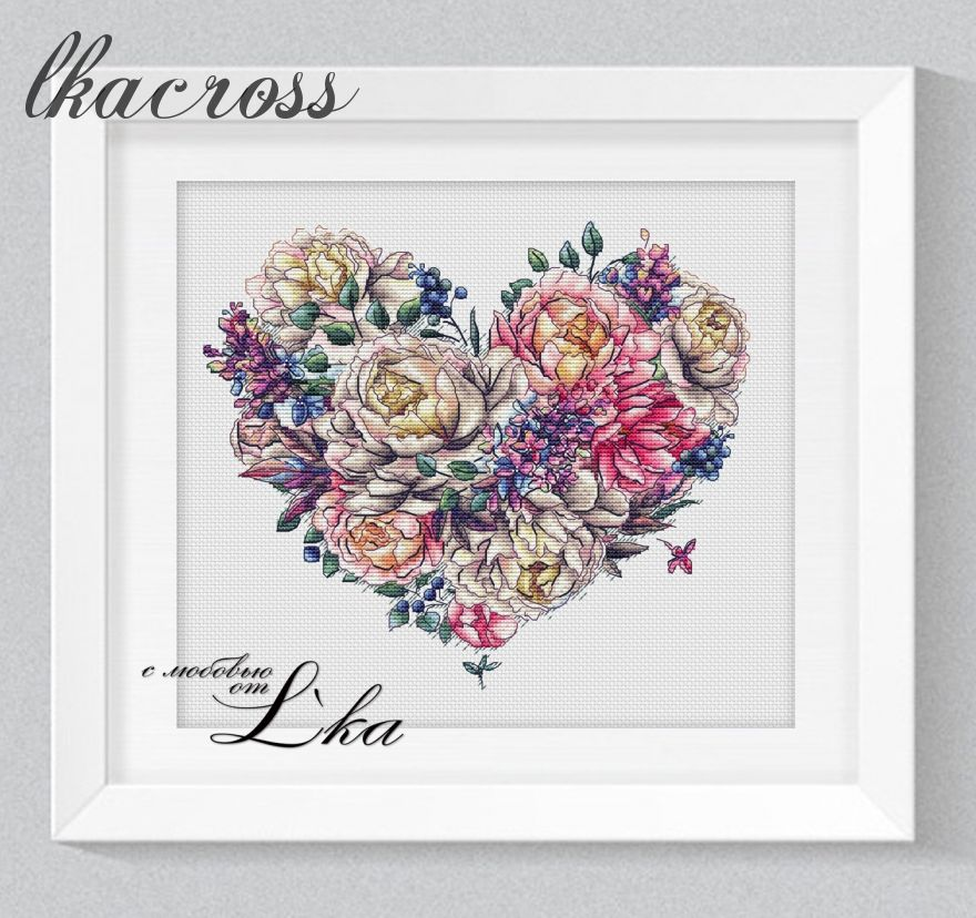 """Heart Of Spring"". Digital cross stitch pattern."