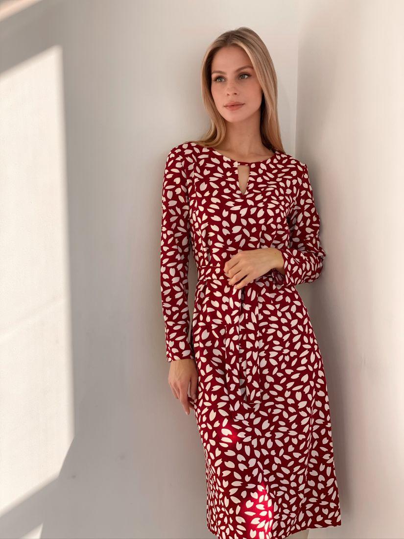 s2848 Платье с тюльпанами бордовое