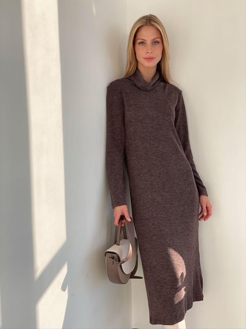 s2860 Платье-свитер из тонкой ангоры в шоколадном цвете