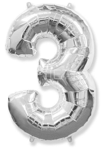 "Цифра ""3"" серебро"