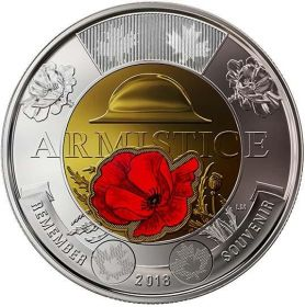 100 лет со дня окончания Первой Мировой войны  2 доллара Канада 2018 цветная