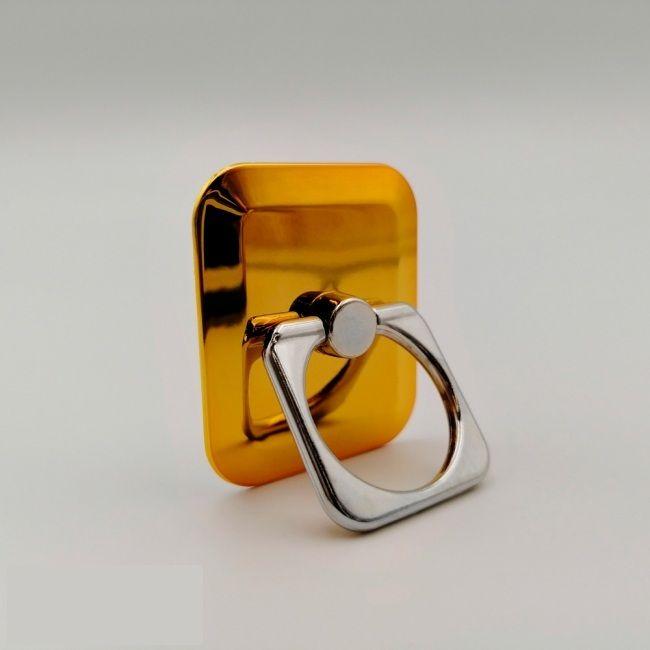 Кольцо-держатель для телефона квадратное золотое