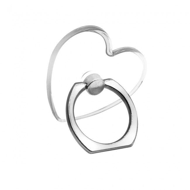 Кольцо-держатель для телефона прозрачное в виде сердца