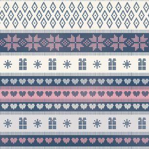 Лоскут трикотажной ткани - Скандинавский узор синий 50х40 см