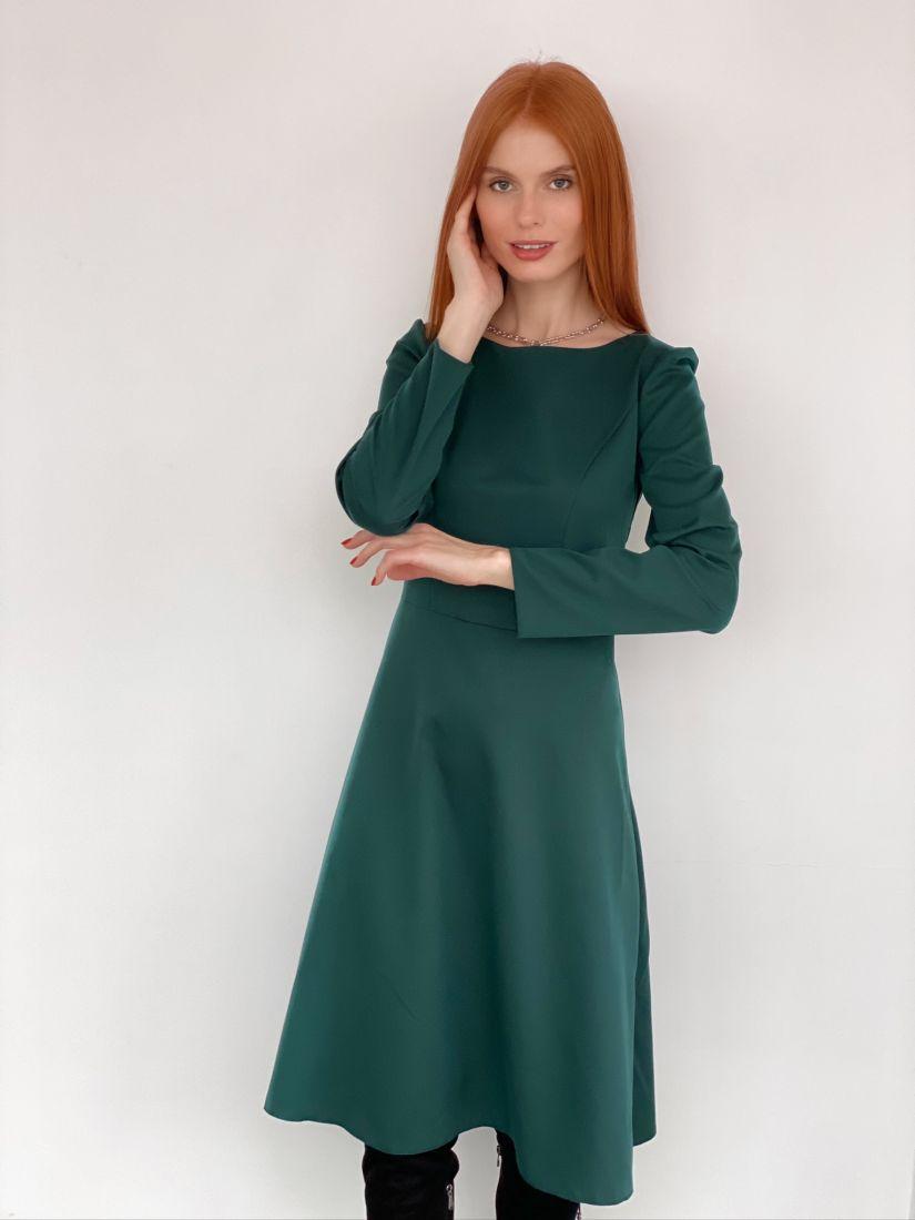 s2910 Платье с рельефами изумрудное