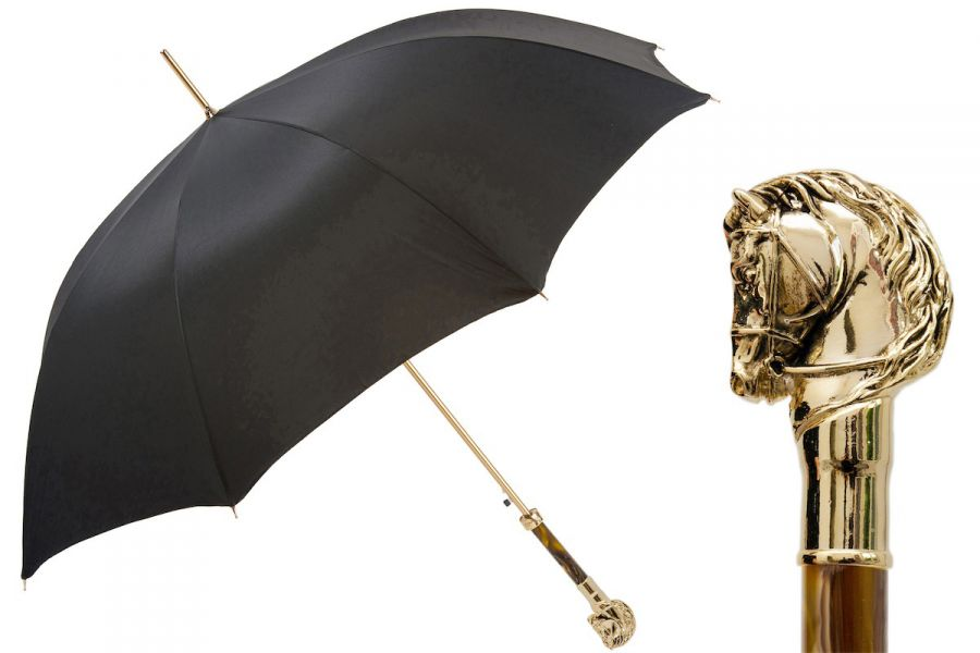 Зонт-трость Pasotti Horse Gold Moro Oxford Black