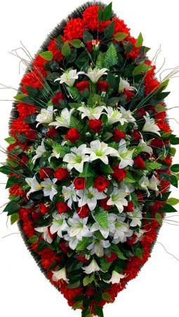 Фото Ритуальный венок из искусственных цветов - Элит #19 красно-белый из лилий, роз и гвоздик