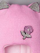 РБ  00-0014740 Шапка-шлем вязаная для девочки, с ушками, цветочек из страз, лавандово-розовый